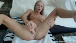 Sexy blonde babe Brittany gets cream cum while masturbates