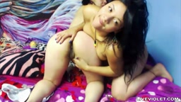 Lesbian teenager latina Lulliana plays with girlfriend