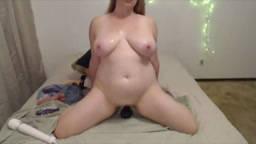 Plumper Anna with big lovely bouncing boobs rides a dildo