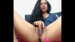 Exotic Indian babe AluraGanji masturbates a haired pussy
