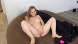 Amazing blonde Nay Mae plays with wet tight little pussy