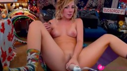 Gorgeous young blonde Nicole masturbating for the webcam
