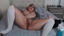 Curvaceous babe Alexis with inked body and pierced tits