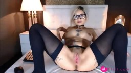 Awesome Ashley Sinner with glasses and tattooed body