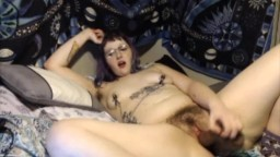 All natural hairy young Cecelia Bloom with nipple clamp