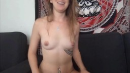 Talkative college babe Zoe with inked and pierced body