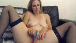 Hot blonde Harper Haize with big tits awkwardly masturbates