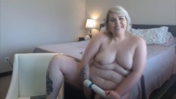 Soft tattooed blonde plumper with a sexy voice fucking shaved pussy