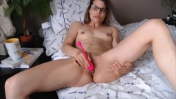 young naked  naughty nurse Miss Aliss in glasses  and creamy cunt