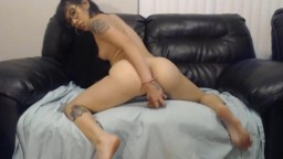 Teen Latina inked cowgirl with sexy glasses pounded tight pussy