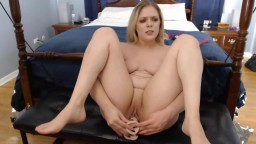 Loud moaning blonde Lana penetrates curvy ass and pussy