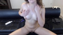 Loud moaning coed Leona Lolli with sexy smile fucks pussy