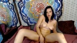 Raven babe Serena with natural big tits fucks tight pussy