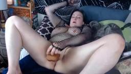 Fallen angel Regretty in fishnet underwear gets cum