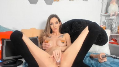Seductive slut Destine in stockings with long smooth legs