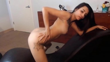 Awesome tiny Latina Audrey pleasuring her unshaved twat
