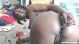 Gorgeous ebony Britney plays with her big tits and black pussy
