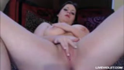 Busty babe Rose masturbates her sweet pink pussy